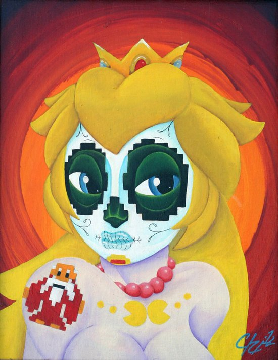 Day of the Digital Dead Princess Peach Art Print