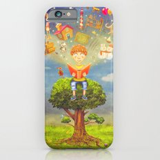 Little boy sitting on the tree and  reading a book, objects flying out iPhone 6 Slim Case