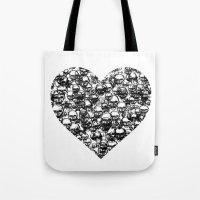 Skull Black Heart Tote Bag