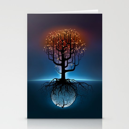 Tree, Candles, and the Moon Stationery Card