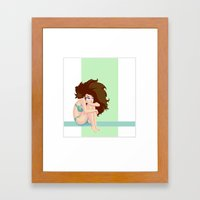 Cute pastel color shapes pin-up Framed Art Print