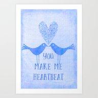 Heartbeat Blue Art Print