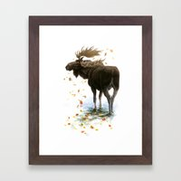 Moose Reflection Framed Art Print