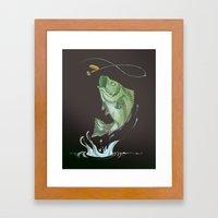 Bass Jumping At Night Framed Art Print