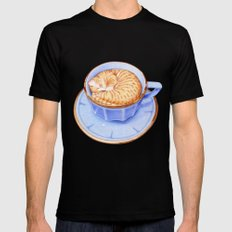 Cat in Coffee SMALL Mens Fitted Tee Black
