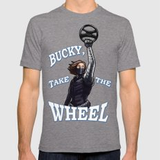 Take The Wheel Mens Fitted Tee Tri-Grey SMALL