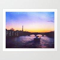Sunset Over Seine River,… Art Print