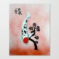 Koi Tancho Chinese Jade prosperity Canvas Print
