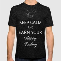 Earn Your Happy Ending Mens Fitted Tee Tri-Black SMALL