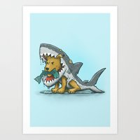 Shark Suit Dog Art Print