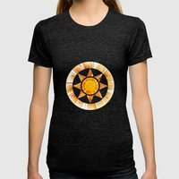 Summer Fractal Flower Womens Fitted Tee Tri-Black SMALL