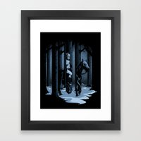 The Walker In The Woods Framed Art Print