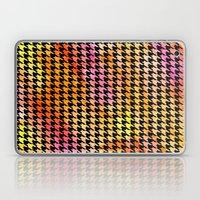 Houndstooth orange on black watercolor Laptop & iPad Skin