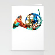 French Horn - Colorful M… Stationery Cards