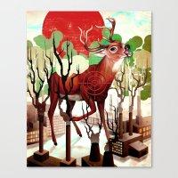 Deer In The Works Canvas Print