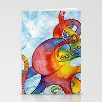 Rainbow Octopus Stationery Cards