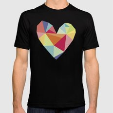 Geometric heart print SMALL Black Mens Fitted Tee
