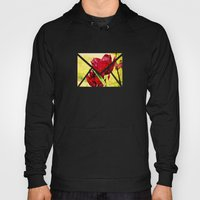 Hearts' Desire -- Spring Botanical with Red Tulips and Heart Bokeh Hoody