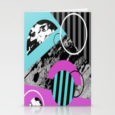 Bits N Pieces III - Abstract, geomtric, random, textured, stripes, black, pink, cyan, artwork Stationery Cards