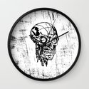 Skull black and white sketch Wall Clock