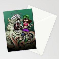 Roller Derby Girl Fighting Monster Stationery Cards