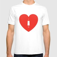 Switch Off My Heart Before You Leave Mens Fitted Tee White SMALL