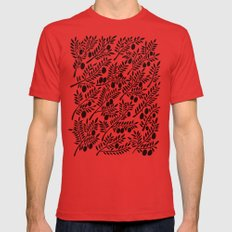 Black Olive Branches Mens Fitted Tee Red SMALL