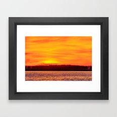 Fiery sunset on the Pike lake Framed Art Print