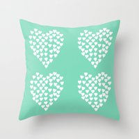 Hearts Heart X2 Mint Throw Pillow