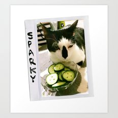 Sparky and Cucumbers Art Print