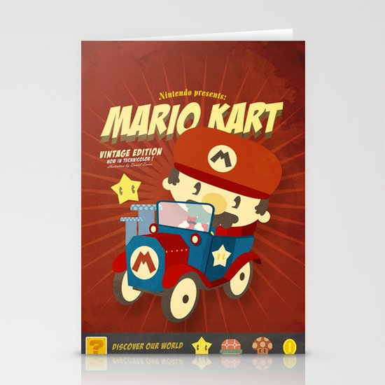 mario kart vintage Stationery Card