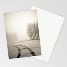 Tyre tracks in snow Stationery Cards
