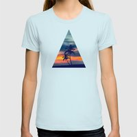 Palms and sunset triangle Womens Fitted Tee Light Blue SMALL