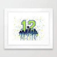 Seahawks 12th Man Fan Ar… Framed Art Print