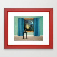 A Cat Looking Outside Framed Art Print