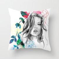 Kristen Fashion Watercol… Throw Pillow