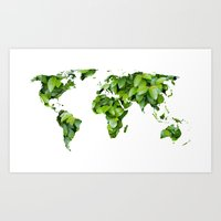 Green Map Of The World Art Print