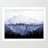 Paint 5 abstract water ocean arctic iceberg nature ocean sea abstract art drip waterfall minimal  Art Print