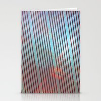 Red stripes on grunge background Stationery Cards
