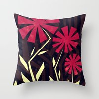 Red Flowers On Wood Throw Pillow
