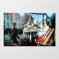 Canvas Print featuring Cafe Arsenal, Paris (Double Exposure) by istillshootfilm