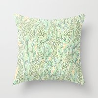Green And Yellow Leaves Throw Pillow