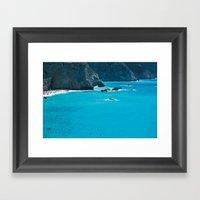 Blue Paradise, seascape photography. Mediterranean blue sea, summer vacations Framed Art Print