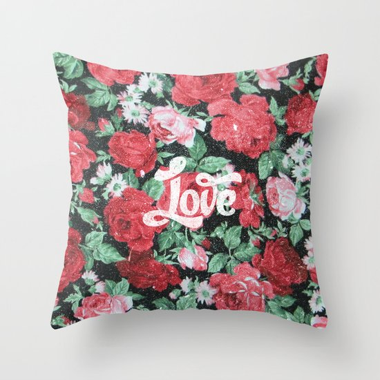Red Pink Roses Chic Love Vintage Floral Pattern Throw Pillow