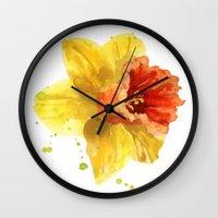 Springtime, flowers, flower paintings, flower clocks, spring, easter, daffodil watercolors Wall Clock