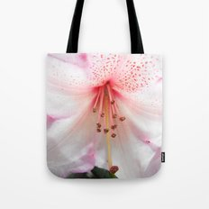 Light pink azalea or rhododendron flower. floral botanical garden photography. Tote Bag