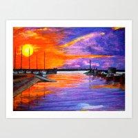 Sunset Harbor Art Print