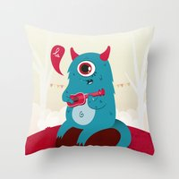 The singing Monster Throw Pillow