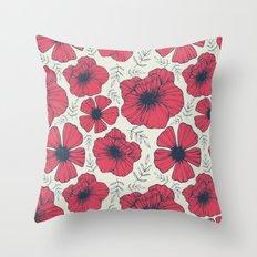 Raspberry Flowers Throw Pillow