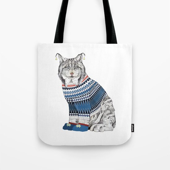 Christmas Lynx // Festive Furries No.1 Tote Bag